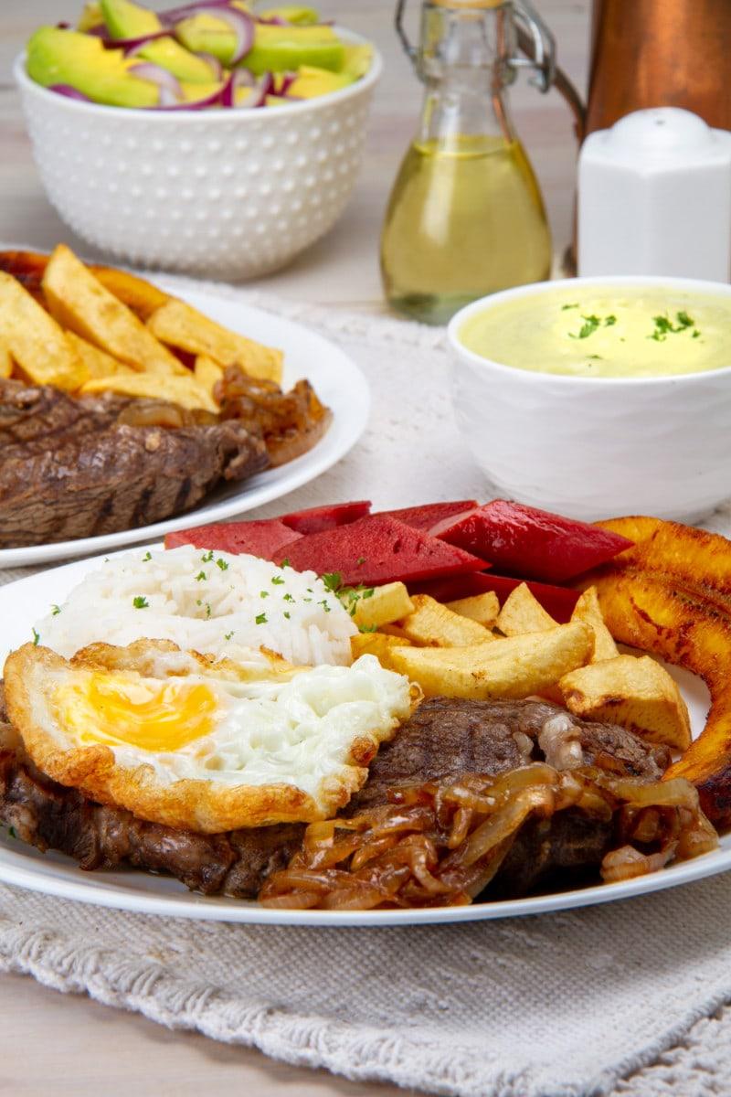 Peruvian Lomo A Lo Pobre Dish