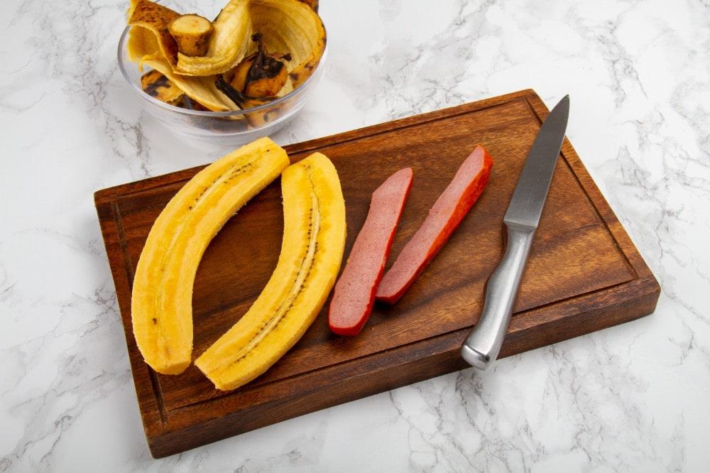 Sliced Plantains And Salchicha Sausage