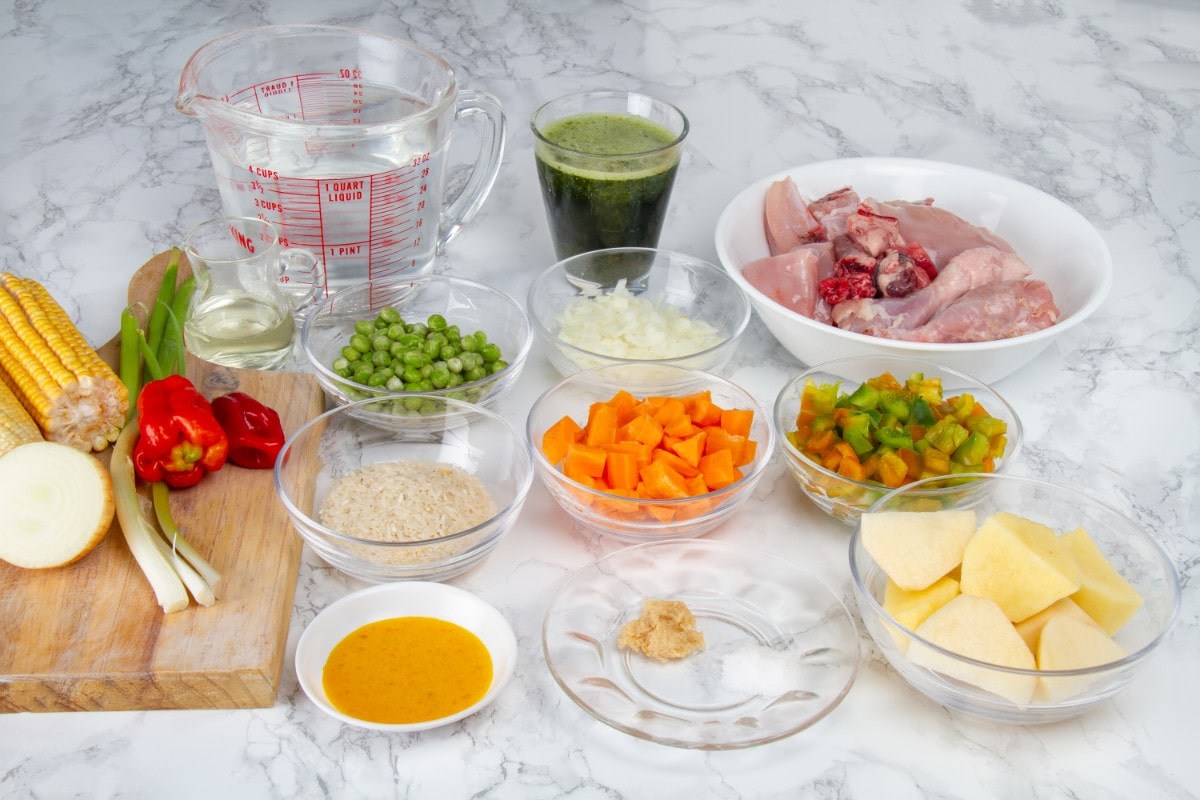 Ingredients For Aguadito De Pollo Peruvian Green Chicken And Rice Soup
