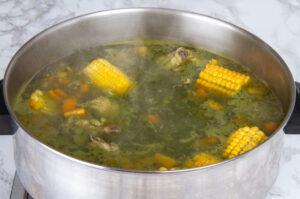 Step 6 Cilantro Mixture Chicken Corn Vegetables In Pot