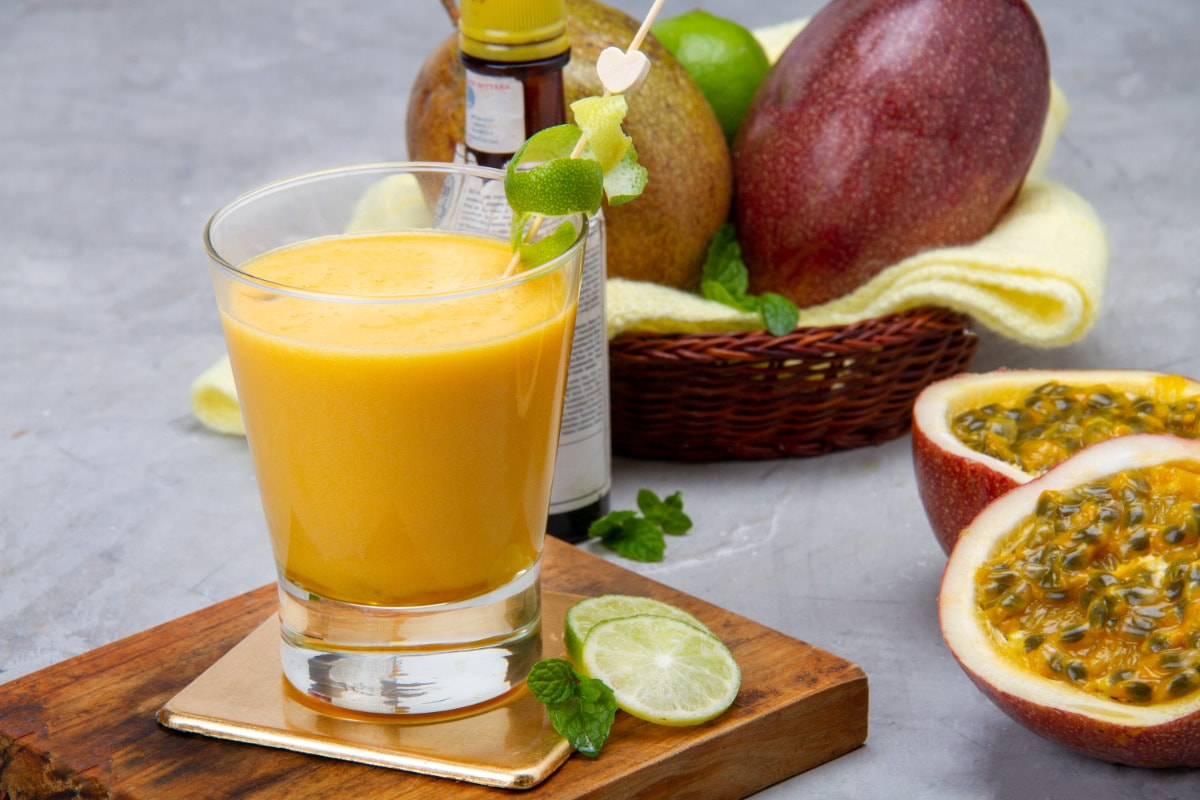 Passionfruit Pisco Sour Drink From Peru With Fruits