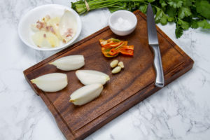step 1 peeled onion garlic and chilli