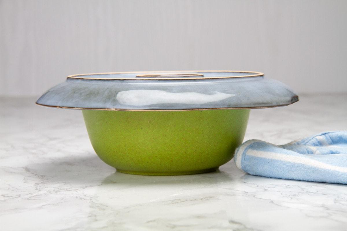 step 12 place plate on top of bowl ramekin