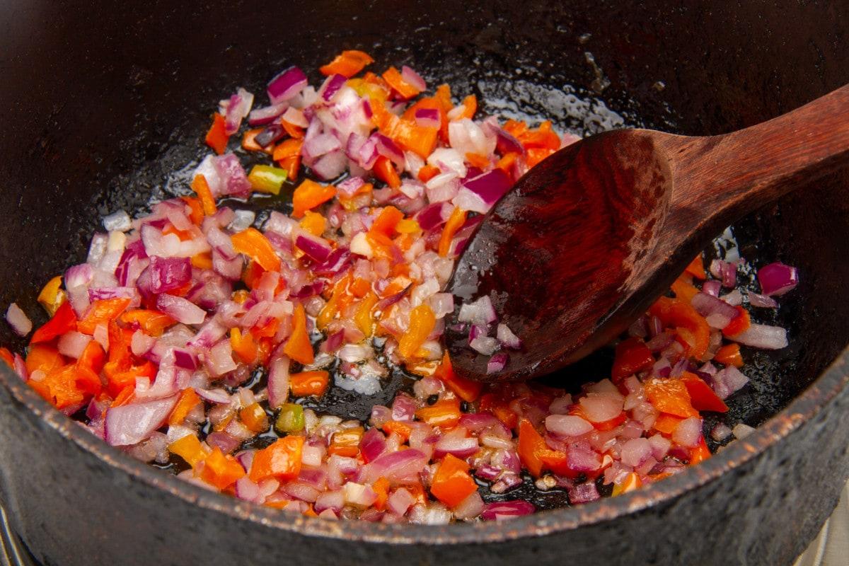 step 6 saute vegetables