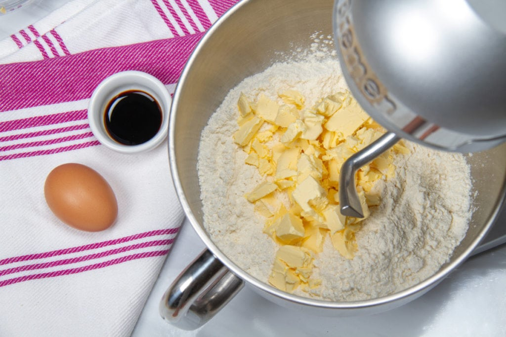 step 1 butter flour sugar in mixing bowl