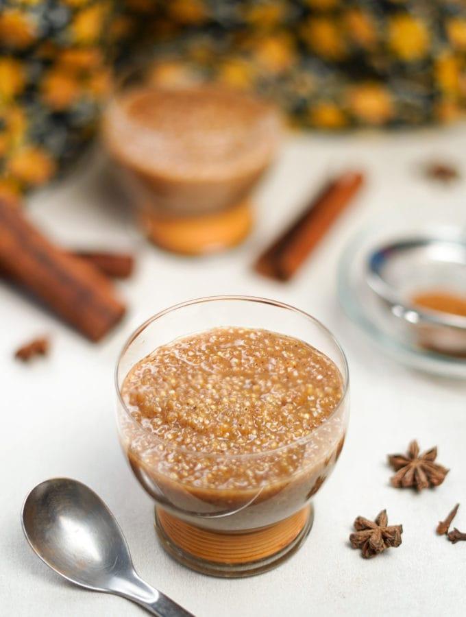 glass bowl of quinoa pudding dessert