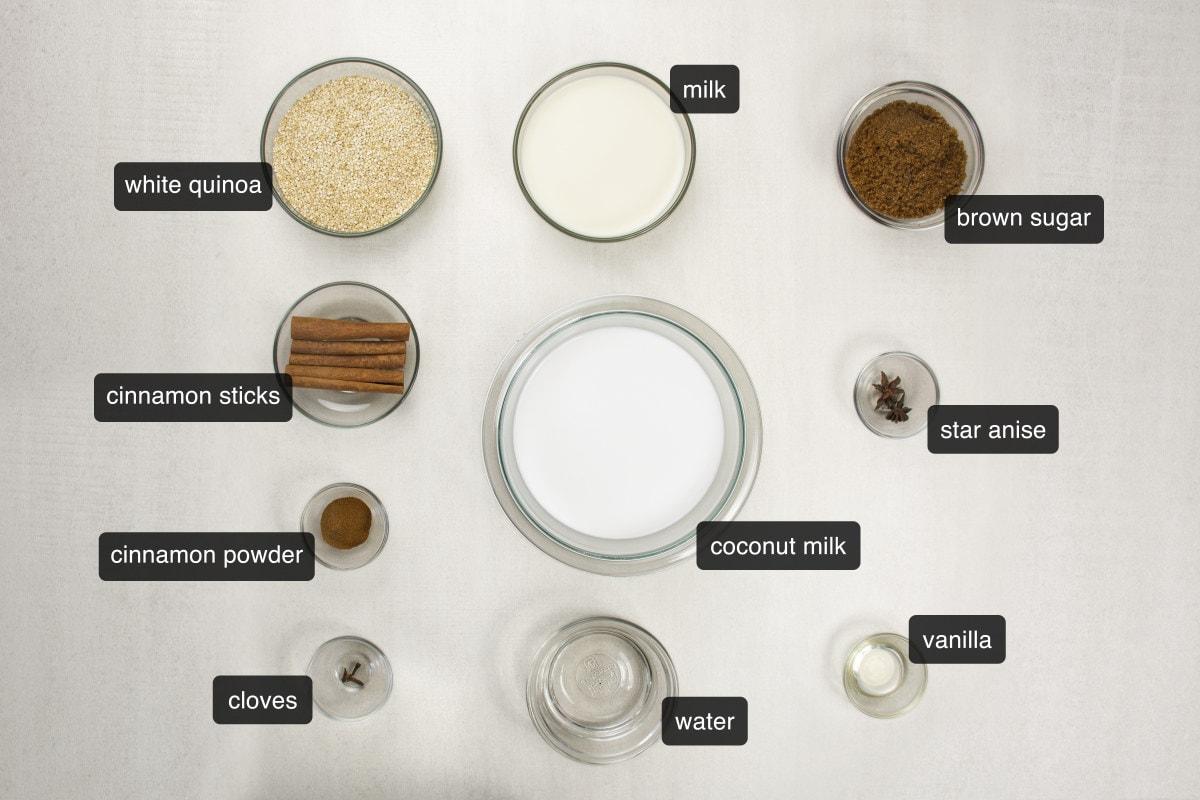 peruvian quinoa milk pudding ingredients
