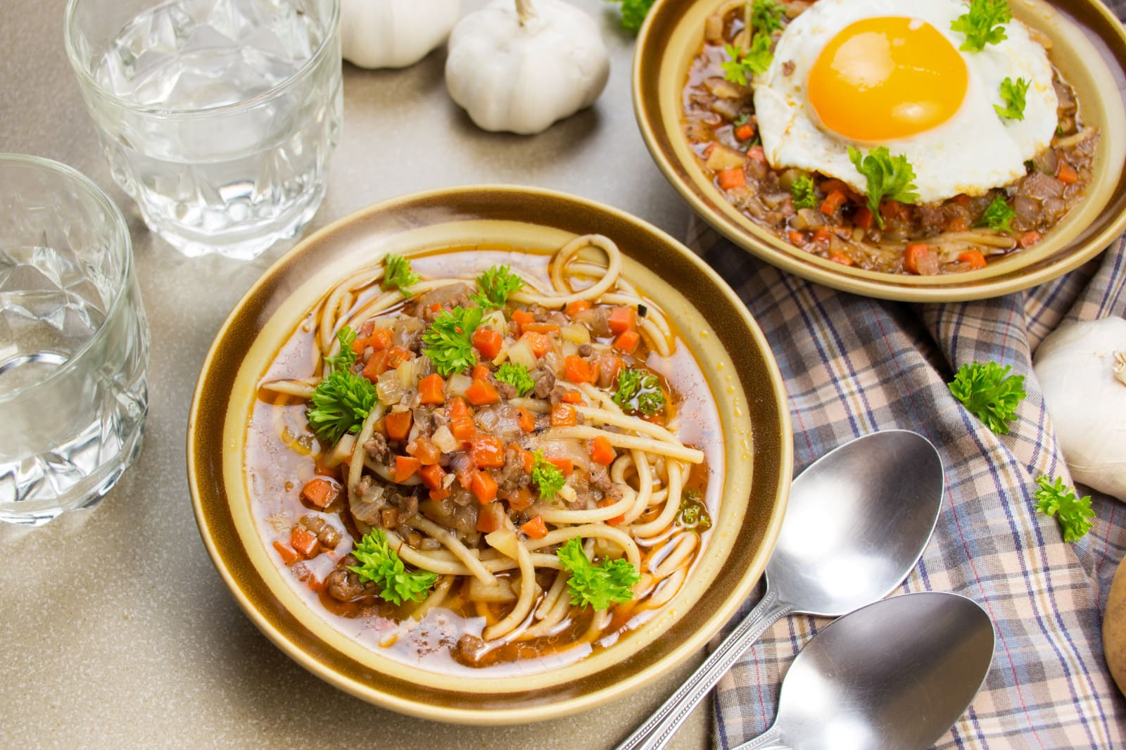 bowl of peruvian beef and noodle soup
