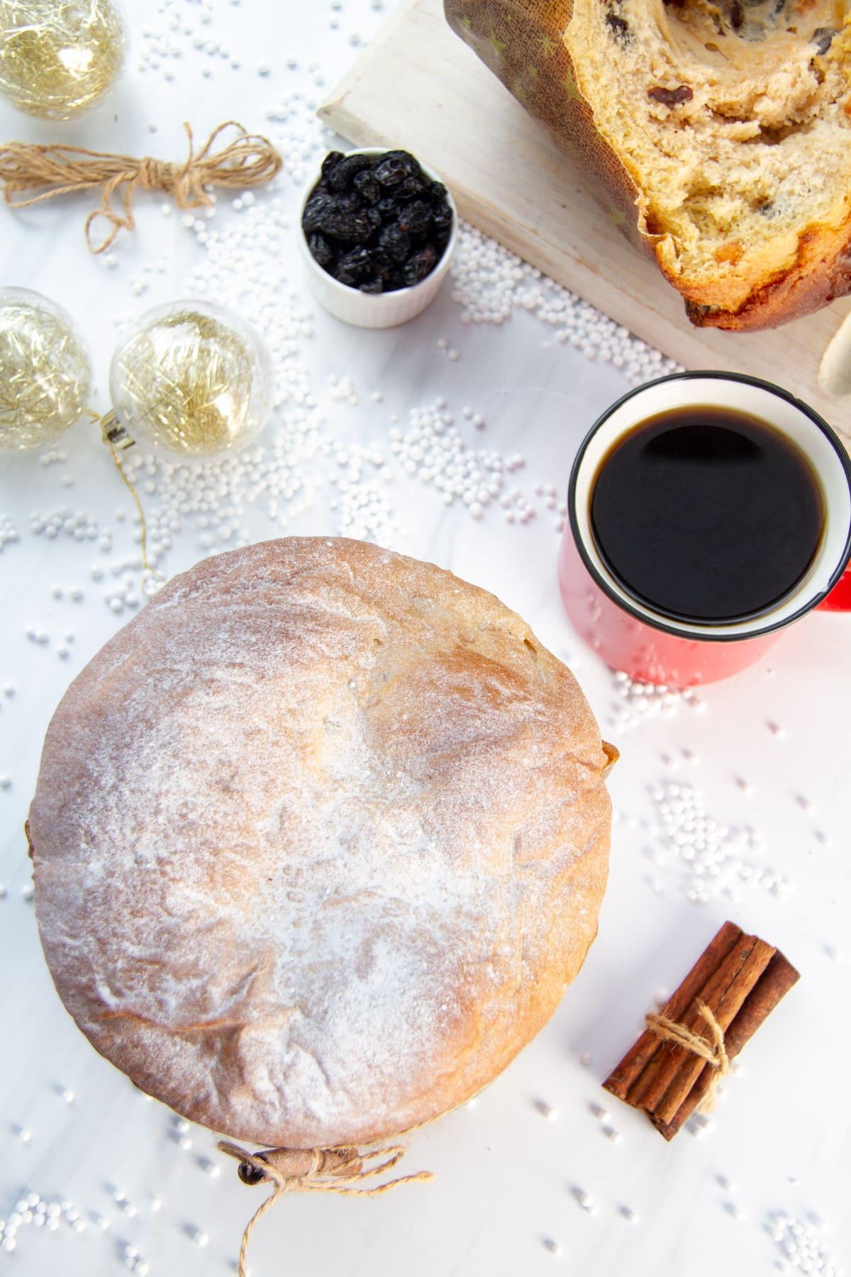 Christmas Paneton with coffee