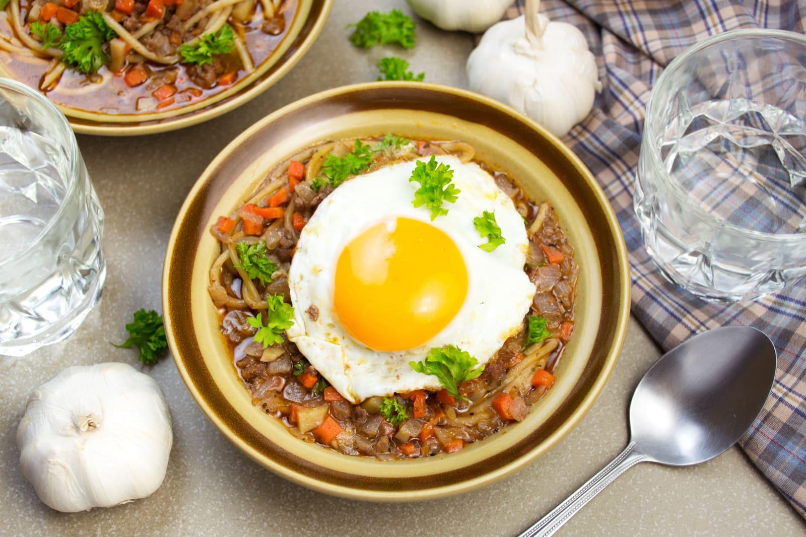 peruvian minute soup in bowl