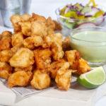 chicharron de pescado with lime and aji verde sauce