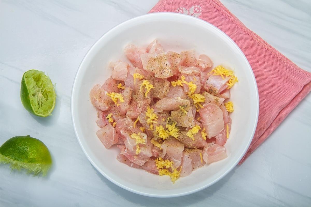 step 2 fish cubes seasoned lime ginger salt pepper